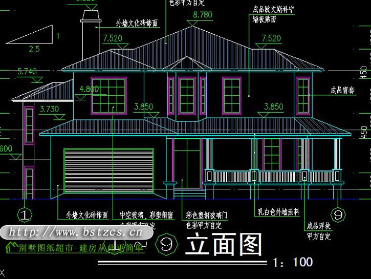 屋顶平面详图,前后左右立面图,a-a剖面图,h-h剖面图,壁炉顶平面图