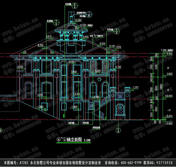 at282二层海滨豪华办公别墅全套建筑设计施工图纸21m