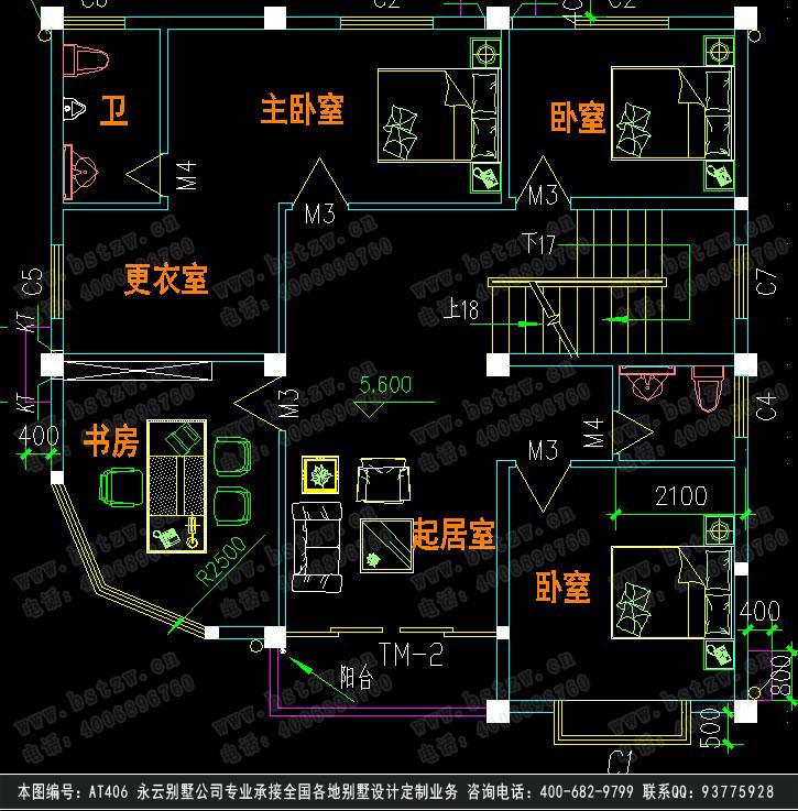 永云别墅at406四层别墅建筑结构水电设计施工图纸 12m×12m