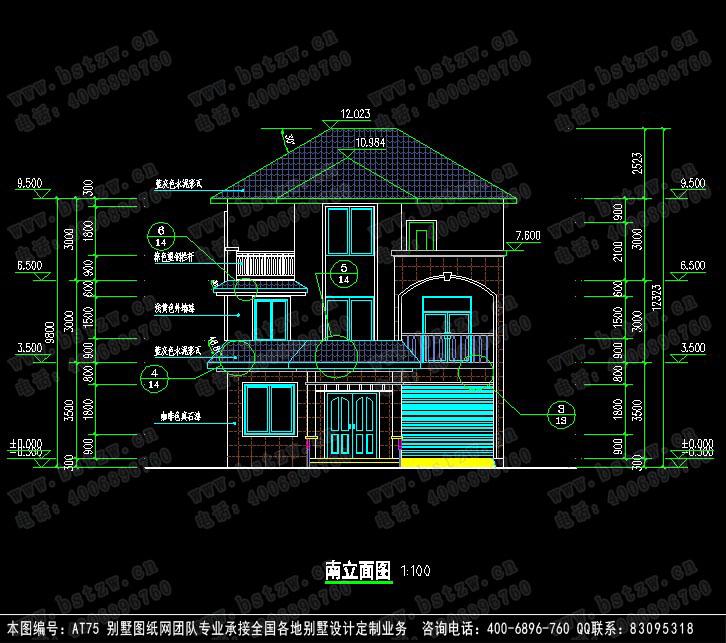 875欧式豪华三层别墅施工图纸别墅设计图纸