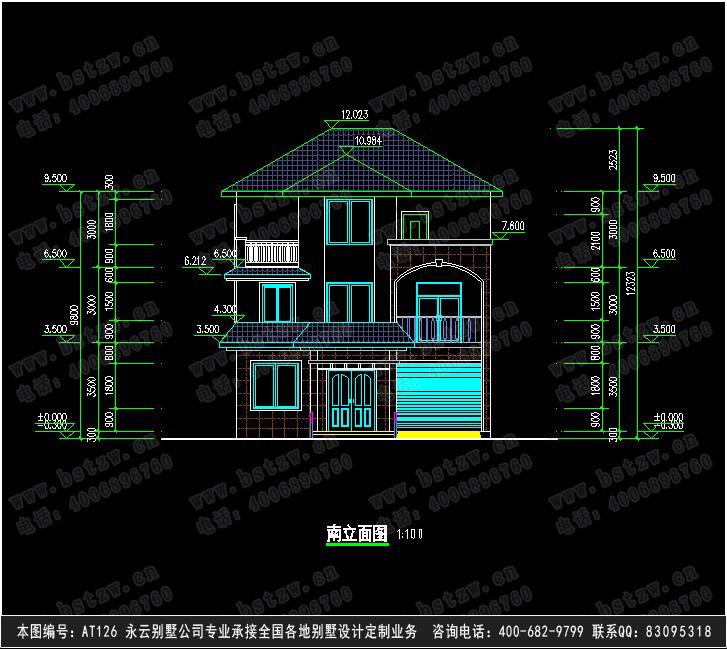 876欧式豪华三层别墅施工图纸别墅设计图纸