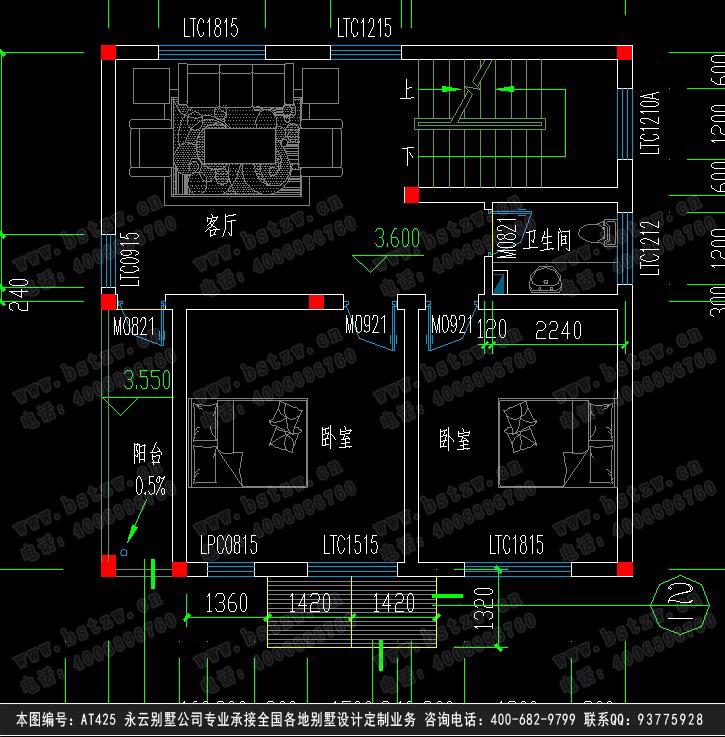 永云别墅at425四层优雅四层别墅建筑结构水电设计图纸9m×9m