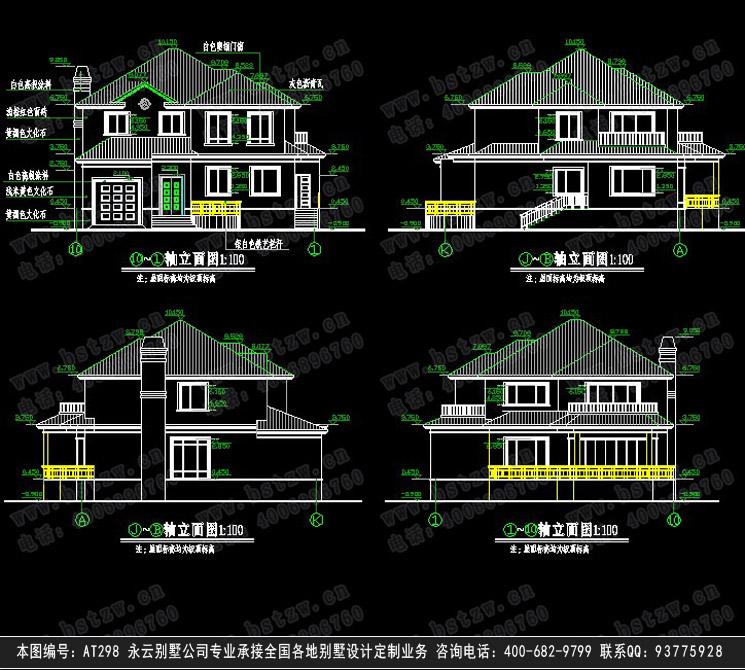 902欧式豪华二层别墅施工图纸别墅设计图纸