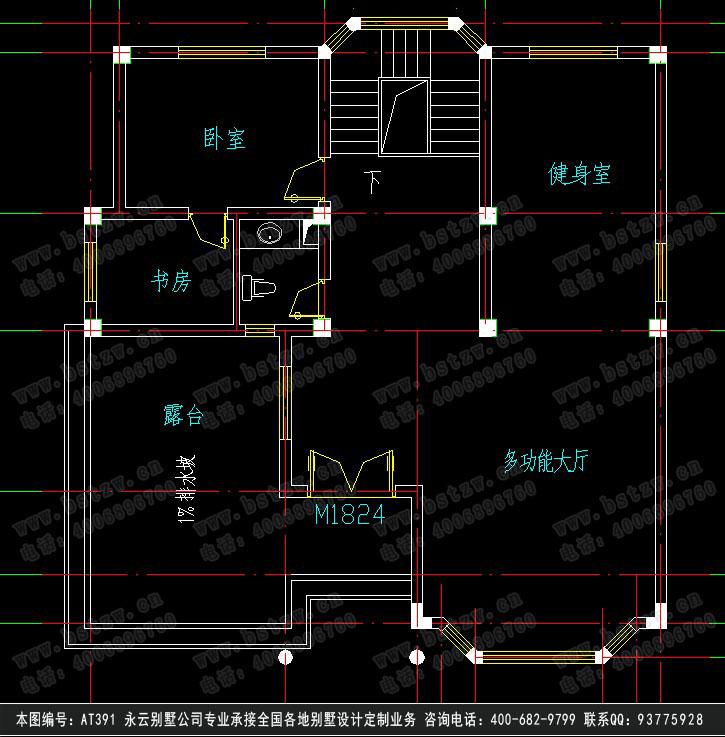 908欧式豪华三层别墅施工图纸别墅设计图纸