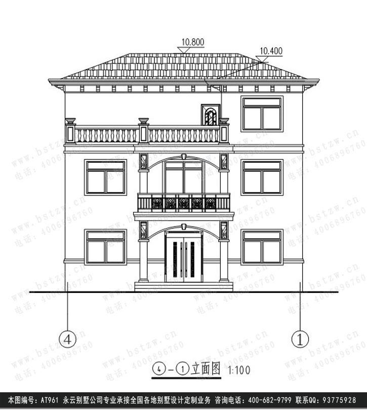 913欧式豪华三层别墅施工图纸别墅设计图纸