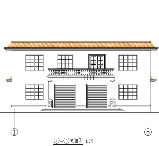 296二层平屋顶框架结构带商铺房屋设计图纸15m×11m