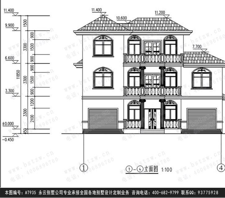 [永云别墅]at935三层带车库豪华别墅建筑施工设计图纸14m×10m  开间