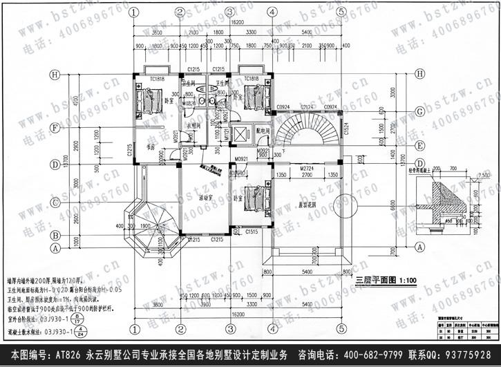 【at826欧式三层复式豪华别墅全套设计施工图纸
