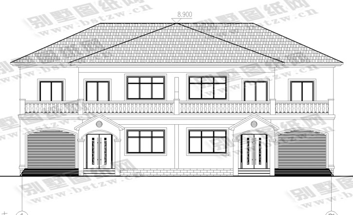 936现代二层双拼别墅施工图纸别墅设计图纸