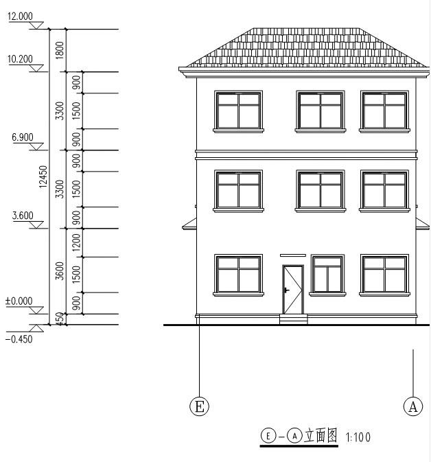 940欧式豪华三层别墅施工图纸别墅设计图纸