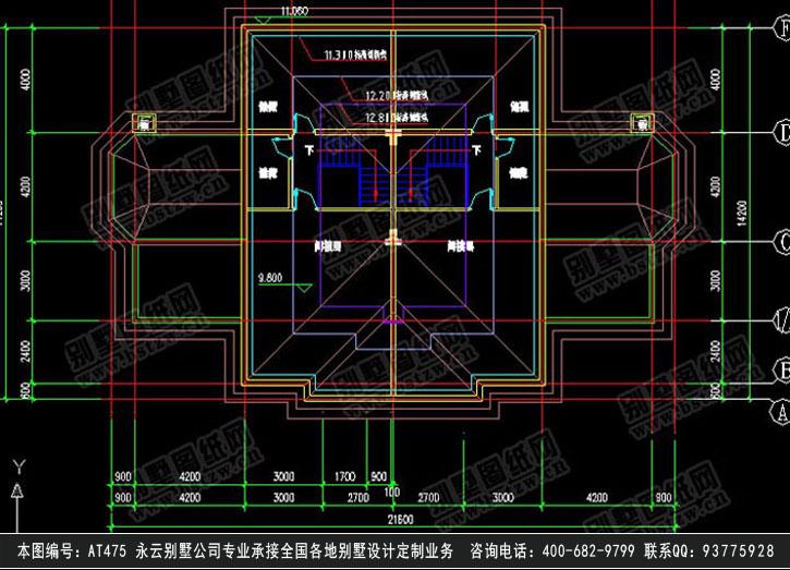 [永云别墅]at475欧式双拼三层豪华别墅全套建筑施工图纸21.6mx13.6m