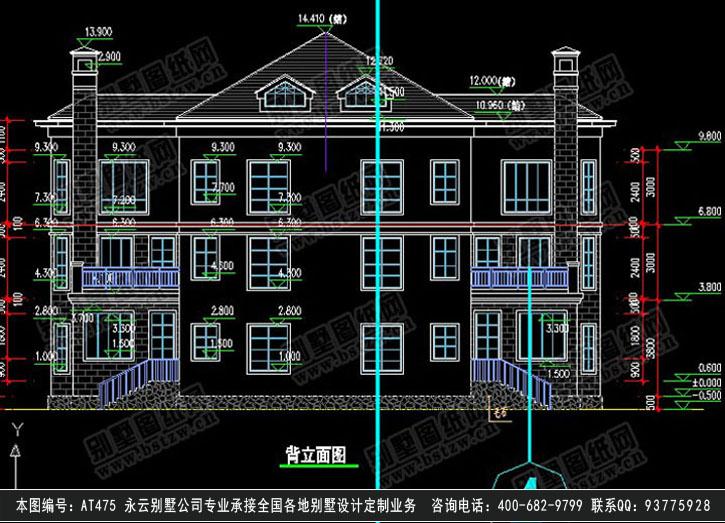 945现代漂亮三层双拼别墅施工图纸别墅设计图纸