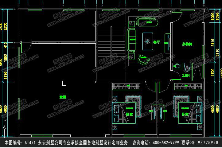 [永云别墅]at471新农村三层半兄弟双拼别墅设计图纸16m×11m