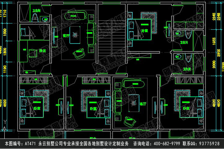 【[永云别墅]at471新农村三层半兄弟双拼别墅设计