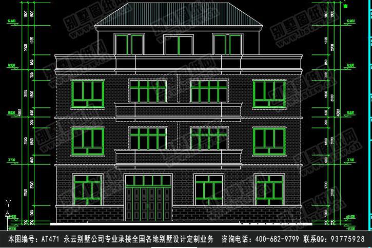 951欧式漂亮三层半带商铺别墅施工图纸别墅设计图纸