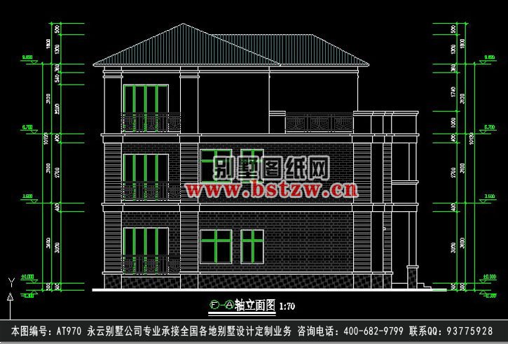 953欧式漂亮三层别墅施工图纸别墅设计图纸